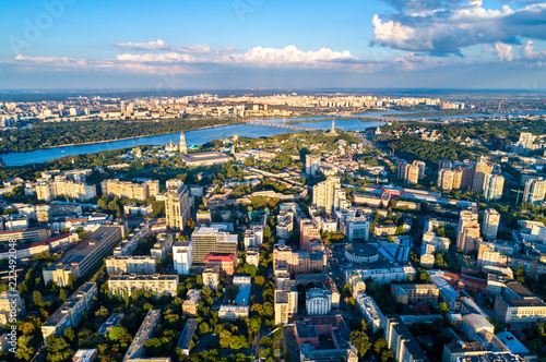 Poster Centraal Europa Aerial view of Pechersk, a central neighborhood of Kiev, Ukraine