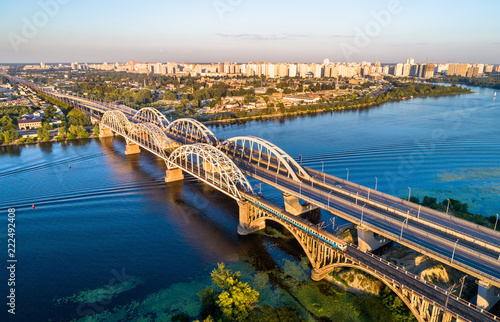 Poster Centraal Europa Kiev Urban Train on the Darnytsia Bridge across the Dnieper in Ukraine