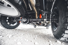 Off Road Car Suspension. Wheel Of The Off-road Pickup