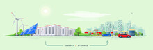 Vector Illustration Of Rechargeable Lithium-ion Battery Energy Storage And Renewable Solar Wind Electric Power Station With City Skyline Buildings And Cars On The Street. Backup Power Energy Storage.