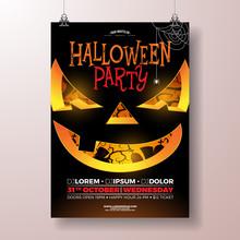 Halloween Party Flyer Vector I...