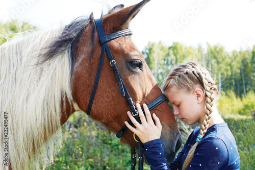 Horse and horse woman - little girl and her best friend