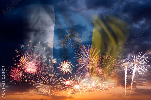 Tuinposter Canarische Eilanden Fireworks and flag of Canary Islands