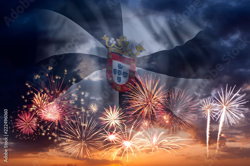 Fireworks and flag of Ceuta