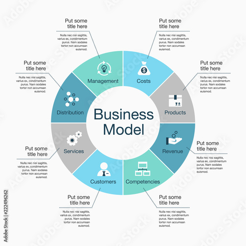 Fotografía  Infographic for business model visualization template with colorful pie chart and icons, isolated on light background