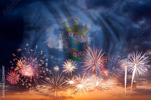 Fireworks and flag of Melilla
