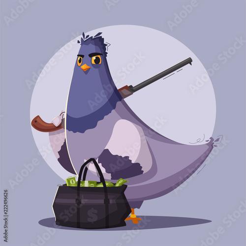 Fotografie, Tablou  Pigeon a robber. Thug life. Cartoon vector illustration