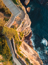 Top Down View Of A Rock Cliff At Diamond Bay, Sydney, Australia.