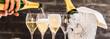 canvas print picture - Champagner Glässer mit Flaschenkühler