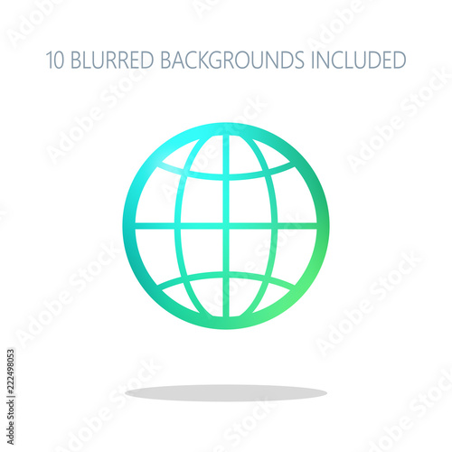 globe, planet  simple silhouette  Colorful logo concept with