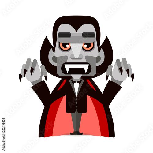 Photographie  Cartoon cute Dracula in a cloak. Happy Halloween.