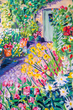 Details Of Acrylic Paintings Showing Colour, Textures And Techniques. Cottage Garden Path, Front Door And Flower Borders.