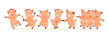 Dancing Pigs Vector