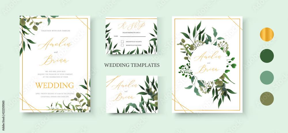 Fototapeta Wedding floral golden invitation card save the date rsvp design