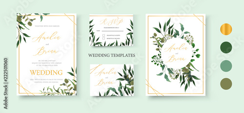 Fototapeta Wedding floral golden invitation card save the date rsvp design obraz