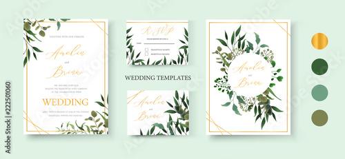 Obraz Wedding floral golden invitation card save the date rsvp design - fototapety do salonu