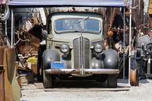 Front View Of An Antique Vintage Classic Car In A Repair Shop In Venice, California