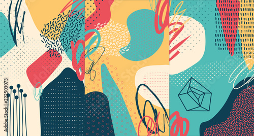 Spoed Foto op Canvas Graffiti Creative doodle art header with different shapes and textures. Collage. Vector