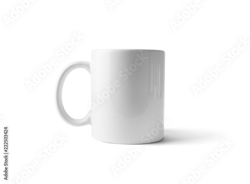 White ceramic cup or mug for coffee or tea isolated on white background. Clipping path.