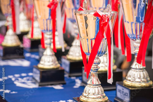 Fotografie, Tablou  Pedestal with cups and prizes in anticipation of the winners.