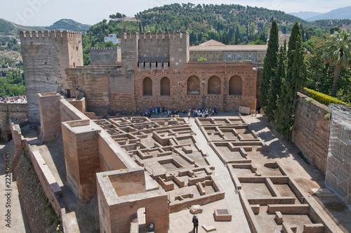 Poster Artistiek mon. Alcazaba, Alhambra, Granada, Andalusien, Spanien
