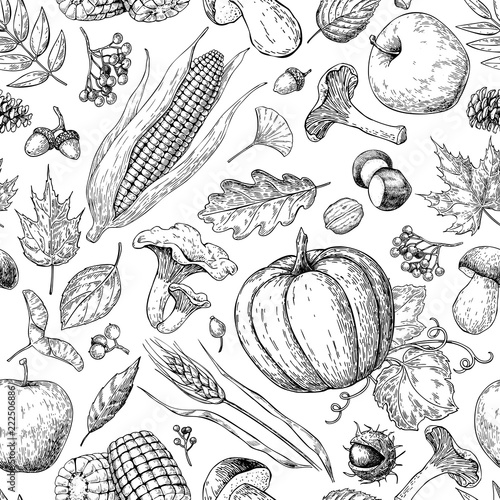 Fotografie, Obraz  Harvest products seamless pattern