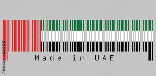 Fotografie, Obraz  Barcode set the color of UAE flag, horizontal tricolor of green, white and black with a vertical red, text: Made in UAE