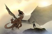 Knight Fighting Dragon, Dragon Versus Man, 3D Render
