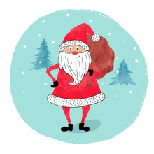 Merry Christmas Card Design. Watercolor Santa Claus With A Bag Of Gifts.