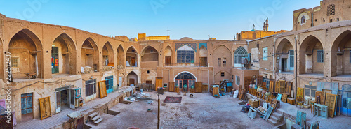Poster Middle East Caravanserai courtyard in Kashan Grand Bazaar, Iran