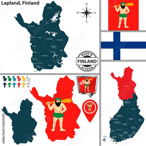 Fotografie, Obraz  Map of Lapland, Finland