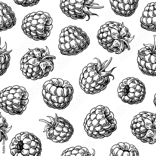 Photo Raspberry seamless pattern