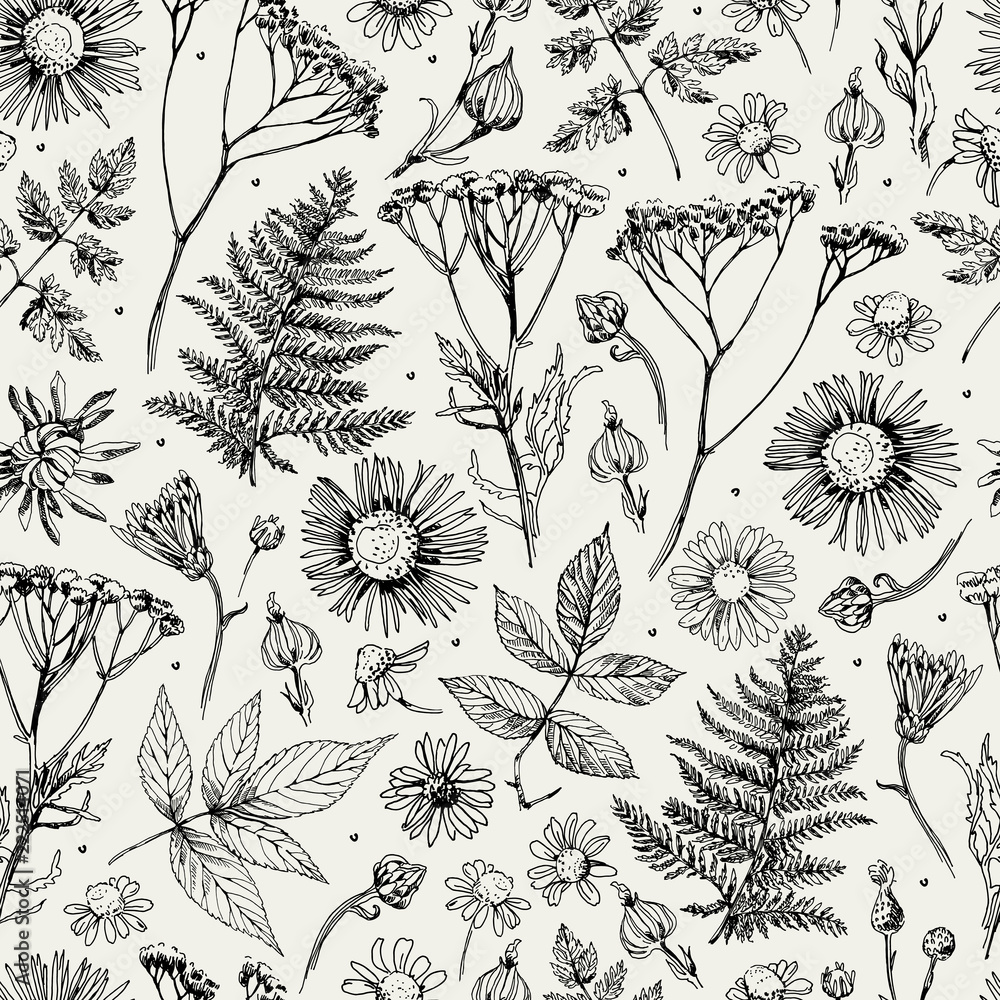 Fototapety, obrazy: Seamless pattern with flowers, leaves and grass. Sketch. Freehand drawing