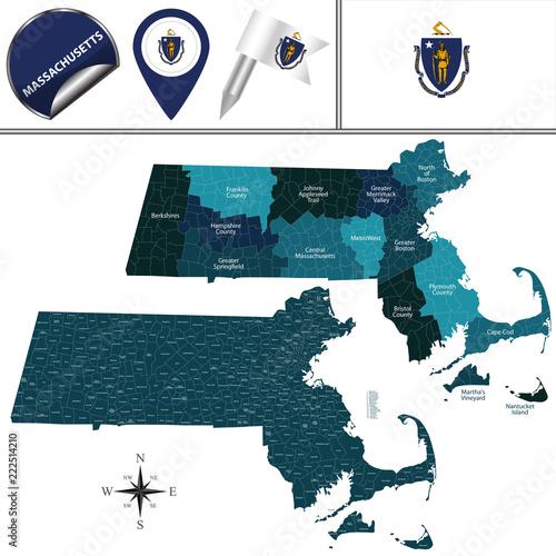 Fototapeta Map of Massachusetts with Regions