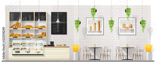 Fotografie, Obraz Interior scene of modern bakery shop with display counter , tables and chairs ,