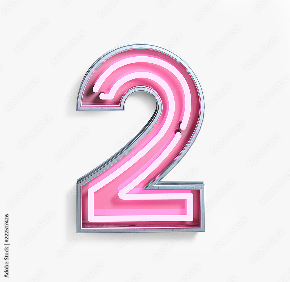 Obraz Bright Neon Font with fluorescent pink tubes. Number 2. Night Show Alphabet. 3d Rendering Isolated on White Background. fototapeta, plakat