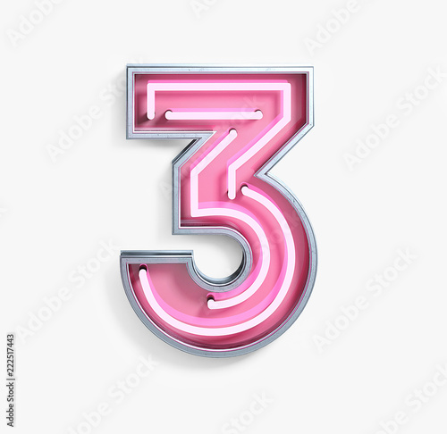 Bright Neon Font with fluorescent pink tubes. Number 3. Night Show Alphabet. 3d Rendering Isolated on White Background. Wall mural