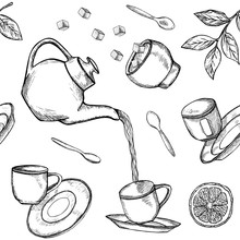 Seamless Pattern With Hand Drawn Tea Icons. Flying And Falling Sketched Teapot, Cups, Tea Leaves Etc. Black And White Vector Illustration