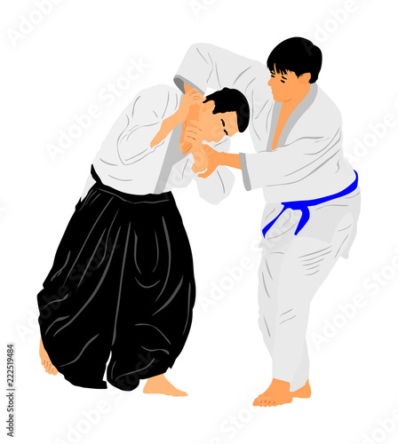 Fight between two aikido fighters vector symbol illustration Canvas Print