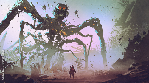 Canvas Print the man facing the giant spider robot, digital art style, illustration painting