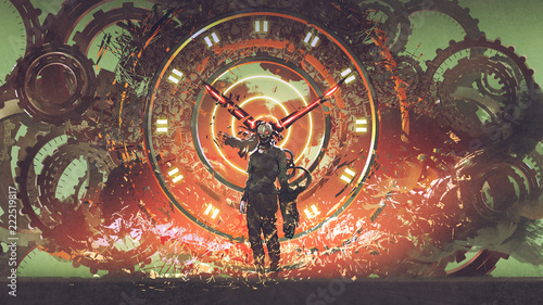 Fotografia cyborg man standing on cogs gears wheels steampunk elements backgound, digital a