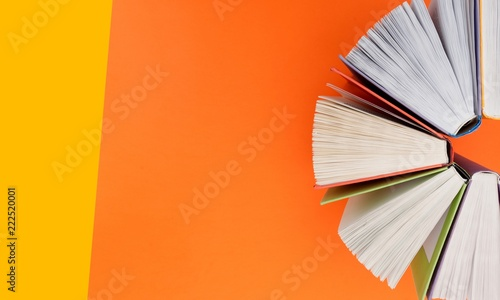 Photographie  Books collection on color background