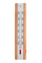 Alcohol Thermometer With Wooden Body Indicates 0 Degrees