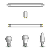 Set Of Different LED And Fluorescent Light Bulbs In 3D, Vector Illustration.