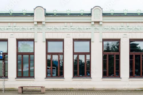 Facade of an Old Art Nouveau Railway Station Building in Nowy Sącz, Poland - fototapety na wymiar