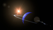 Planet Neptune With Its Rings Lit By The Sun