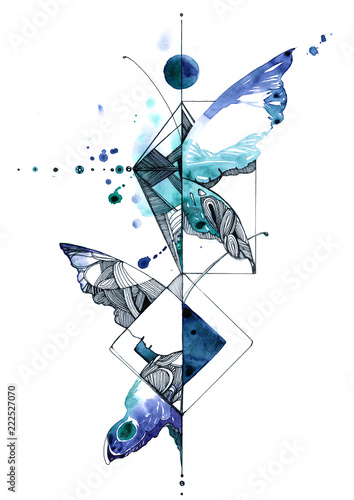 Deurstickers Schilderingen abstract butterfly