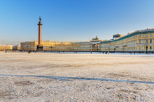 View Of General Staff Building And Palace Square In Winter. Saint Petersburg, Russia