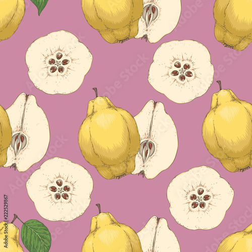 Photographie Seamless Pattern with Ripe Quince