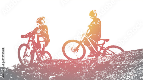 Fotografia Downhill mountain biking background. Vector Illustration.